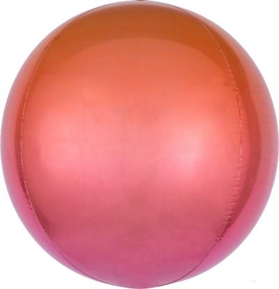 Folinis balionas-orbz, raudonas-oranžinis ombre (38 cm)