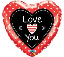"""Folinis balionas """"Raudonai juoda širdis (46 cm)"""