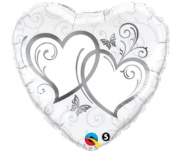 """Folinis balionas """"Sidabrinės širdelės"""" (46 cm)"""