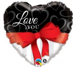 """Folinis balionas """"Širdelė - kaspinėlis"""" (91cm)"""