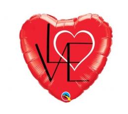 """Folinis balionas """"Širdelė - Love"""" (46 cm)"""