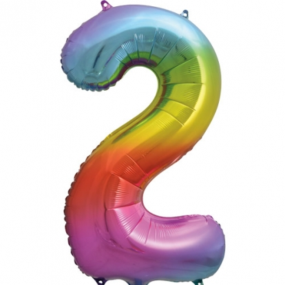 """Folinis balionas-skaičius """"2"""", įvairiaspalvis pastelinis (86 cm)"""