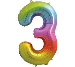 """Folinis balionas-skaičius """"3"""", įvairiaspalvis pastelinis (86 cm)"""