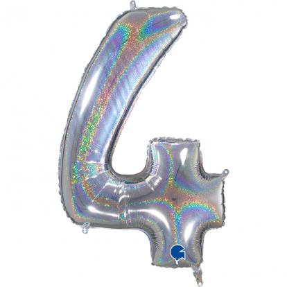 """Folinis balionas-skaičius """"4"""", holografinis (66 cm)"""