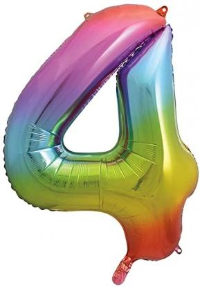 """Folinis balionas-skaičius """"4"""", įvairiaspalvis pastelinis (86 cm)"""