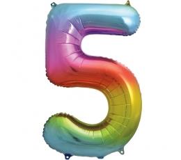 """Folinis balionas-skaičius """"5"""", įvairiaspalvis (85 cm)"""