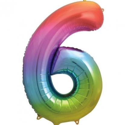 """Folinis balionas-skaičius """"6"""", įvairiaspalvis pastelinis (86 cm)"""