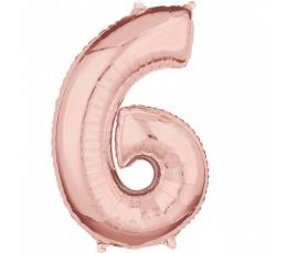 """Folinis balionas-skaičius """"6"""", rožinio aukso spalvos (66 cm.)"""