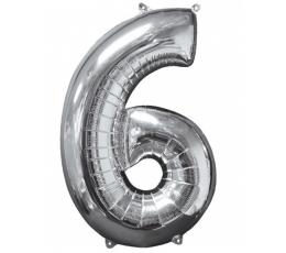 """Folinis balionas-skaičius """"6"""" sidabrinis (66 cm)"""
