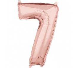 """Folinis balionas-skaičius """"7"""" rožinis auksas (66 cm)"""
