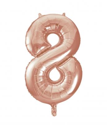 """Folinis balionas-skaičius """"8"""", rožinis auksas (85 cm)"""