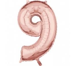 """Folinis balionas-skaičius """"9"""", rožinio aukso spalvos (66 cm)"""