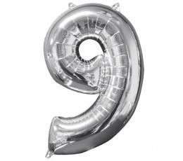 """Folinis balionas-skaičius """"9"""" sidabrinis (66 cm)"""