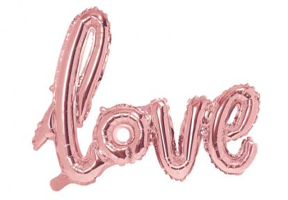 """Folinis balionas-užrašas """"Love"""", rožinio aukso (73x59 cm)"""