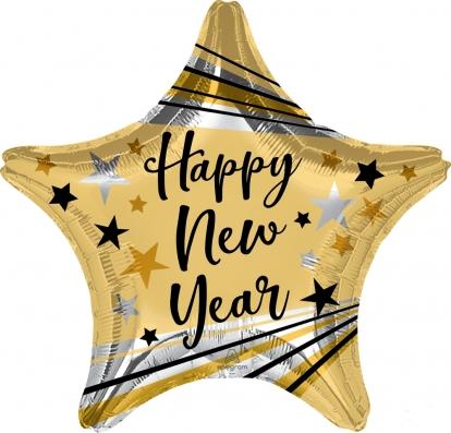 """Folinis balionas- žvaigždė """"Happy New Year"""", auksinis (45 cm)"""