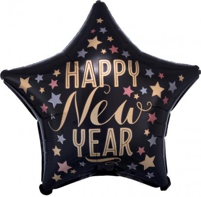 """Folinis balionas- žvaigždė """"Happy New Year"""", juodas matinis (45 cm)"""