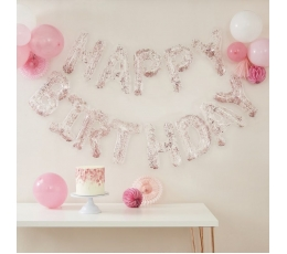 """Folinių balionų rinkinys """"Happy birthday"""", skaidrus su rožiniais konfeti (35 cm)"""