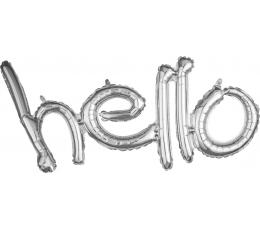 """Folinių balionų rinkinys """"Hello"""", sidabrinis"""