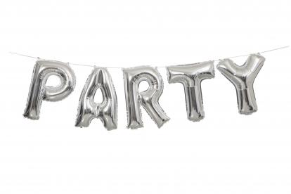 """Folinių balionų rinkinys """"Party"""", sidabrinis (35 cm)"""