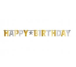 """Forminė girlianda """"Happy Birthday"""", auksinė-sidabrinė (3,2 m)"""