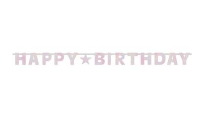 "Forminė girlianda ""Happy Birthday"", rausva (2,4 m)"