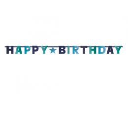"""Forminė girlianda """"Happy Birthday"""", žydrai mėlyna (2,4 m)"""