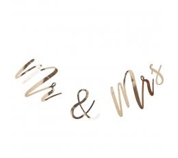"""Forminė girlianda """"Mr& Mrs"""", auksinė (2 m)"""