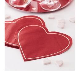 """Forminės servetėlės """"Raudona širdis"""" (16 vnt.)"""