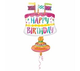 """Forminis balionas """"Gimtadienio tortas"""" (55x76 cm)"""
