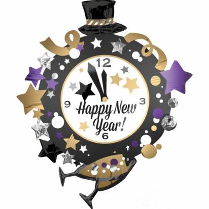"""Forminis balionas """"Naujųjų Metų laikrodis"""" (76x88 cm)"""
