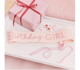 """Gimtadienio juosta """"Birthday girl"""", rožinė"""