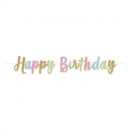 "Girlianda ""Happy Birthday"", blizgi pastelinė (3,65 m)"