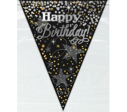 "Girlianda ""Happy Birthday"", juoda blizgi (3,65 m)"
