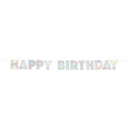 """Girlianda """"Happy Birthday"""", perlamutrinė (2,2 m)"""