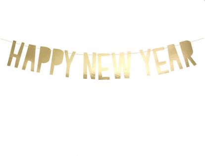 "Girlianda  ""Happy New Year"". auksinė (10x90 cm)"