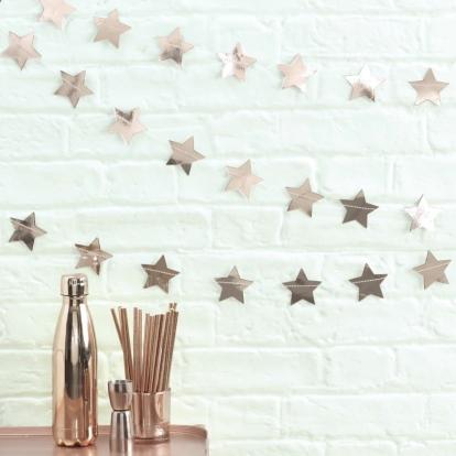 """Girlianda """"Rožinio aukso žvaigždės"""" (5 m)"""