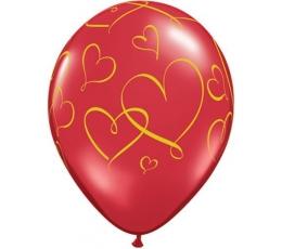 """Guminiai balionai """"Širdelės"""" (25vnt./28cm.)"""