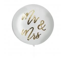 """Guminis balionas-orbz """"Mr&Mrs"""", skaidrus su auksu (91 cm)"""