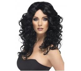 Ilgas, juodų plaukų perukas (1 vnt.)