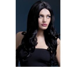 Ilgų juodų plaukų garbanotas perukas (66 cm.)