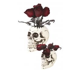 """Interaktyvi dekoracija """"Kaukolinė vaza su rožėmis"""" (30 cm)"""