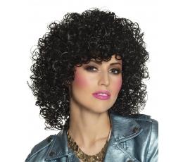 Juodų plaukų garbanotas perukas