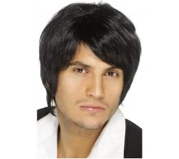 """Juodų plaukų perukas """"Boy band"""" (1 vnt.)"""