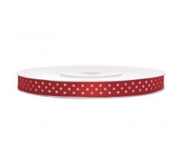 Juostelė medžiag./raudona su taškeliais (6mm./25m.)