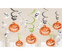 """Kabančios dekoracijos """"Moliūgai ir vaiduokliai"""" (12 vnt./61 cm)"""