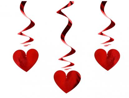 """Kabančios dekoracijos """"Raudonos širdelės"""" (3 vnt.)"""