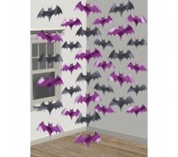 """Kabančios dekoracijos """"Šikšnosparniai"""", juodi-voletiniai (6 vnt./2,13m)"""