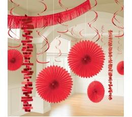 Kabančių dekoracijų rinkinys, raudonas (18 vnt.)