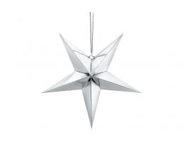 Kabanti dekoracija-žvaigždė, sidabrinė blizgi (45 cm)