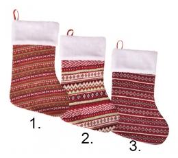 """Kalėdinė kojinė """"Kalėdų raštai"""" (24x37 cm)"""